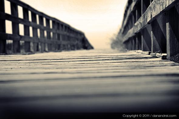 wood bridge on sand